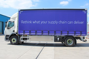 'Rethink what your supply chain can deliver' blue curtainsider