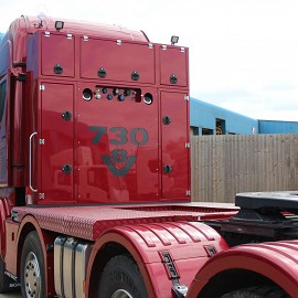 Scania rear of cab combined diesel and toolbox module